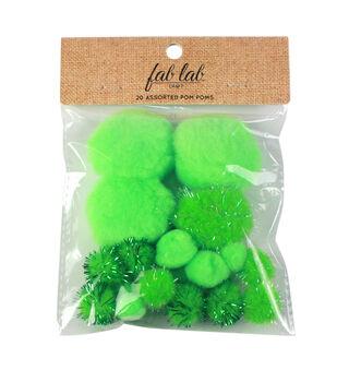 Fab Lab Craft 20 pk Assorted Tinsel Pom Poms-Mint