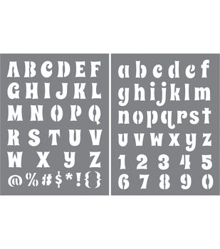 DecoArt Americana 2 pk 8.5''x11'' Stencil-Funky Flair Alphabet