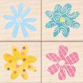 Inkadinkado Banded Pattern Flowers Set Of 4 Stamp