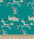 Jungle Friends Herringbone Print Fabric