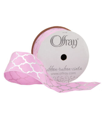 Offray Satin Ribbon 1.5''x9'-Silver Lattice on Pink