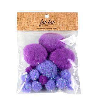 Fab Lab Craft 20 pk Assorted Tinsel Pom Poms-Lavender