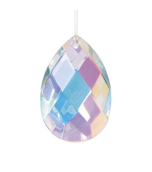 Hand-Cut Faceted Oval Raindrop AB Crystal Pendant, 50mm x 29mm x 16mm