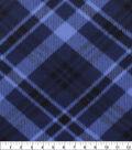 Blizzard Fleece Fabric-Navy Bias Plaid