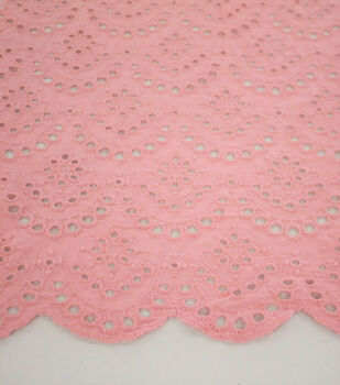 Scallop Cotton Eyelet Fabric-Peachskin