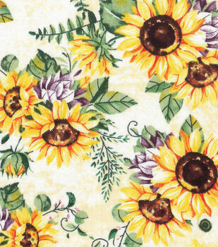 Harvest Cotton Fabric-Autumn Sunflowers