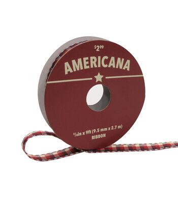 """Americana Ribbon 3/8""""x9'-Small Plaid"""