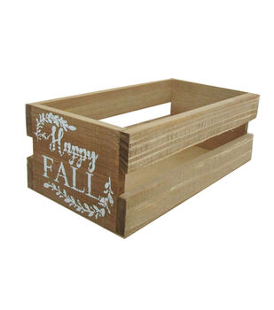 Blooming Autumn Wood Crate-Happy Fall