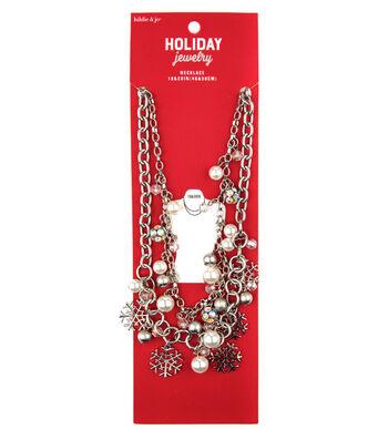 hildie & jo Christmas Silver Necklace-Snowflakes, Pearls & Rhinestones