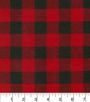 Snuggle Flannel Fabric -Red & Black Buffalo Check