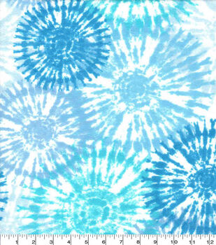 Snuggle Flannel Fabric-Tie Dye Burst Blue
