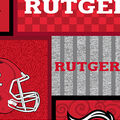 Rutgers University Scarlet Knights Fleece Fabric-College Patch