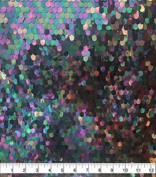 Glitterbug Oval Sequins Mesh Fabric-Purple & Green