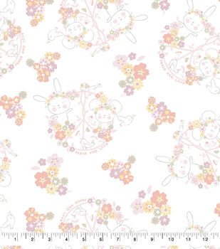 Nursery Flannel Fabric-Floral Bunny Toss