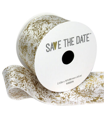 """Save the Date 2.5"""" x 15ft Ribbon-Gold And White Marble"""