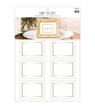 Save the Date 24 pk 2.5''x2'' Gold Foiled Traditional Place Cards