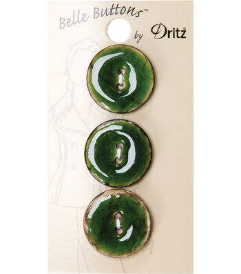Dritz Belle Button Natural Coconut Green 23mm