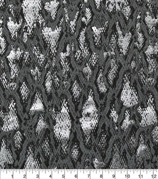 Faux Suede Stretch Fabric-Grey Snakeskin Print