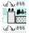 Nursery Flannel Fabric -Mint, Black & White Woodland Patch
