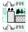 Nursery Flannel Fabric 42\u0027\u0027-Mint, Black & White Woodland Patch