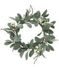 Blooming Holiday Christmas 15\u0027\u0027 Dusty Miller & Cream Berry Mini Wreath