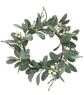 Blooming Holiday Christmas 15'' Dusty Miller & Cream Berry Mini Wreath