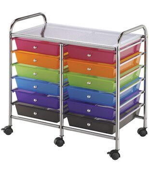 Double Storage Cart w/12 Drawers-Multicolor