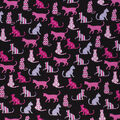 Novelty Cotton Fabric-Patterned Pink Cats on Black