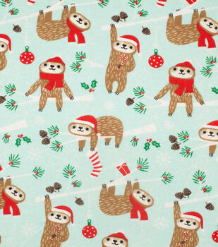 Super Snuggle Flannel Fabric-Holiday Sloth