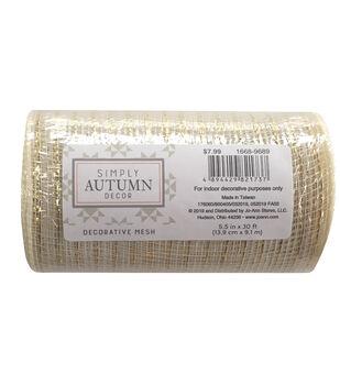 Simply Autumn Decor Decorative Mesh 5.5''x30'-Ivory & Metallic Stripes