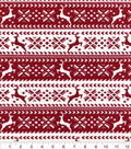 Snuggle Flannel Fabric -Red Nordic Reindeer