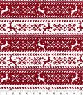 Snuggle Flannel Fabric 42\u0022-Red Nordic Reindeer