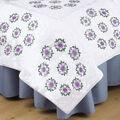 Tobin Stamped Cross Stitch White Quilt Blocks Floral Vine