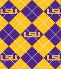 Louisiana State University Tigers Fleece Fabric -Argyle