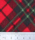 Anti-Pill Fleece Fabric -Red Green Diagonal Plaid