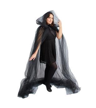 Maker's Halloween Adult Costume-Cape Long Black Tulle