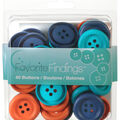 Favorite Findings 40 Matte Soft Big Buttons-Yellow White Grey