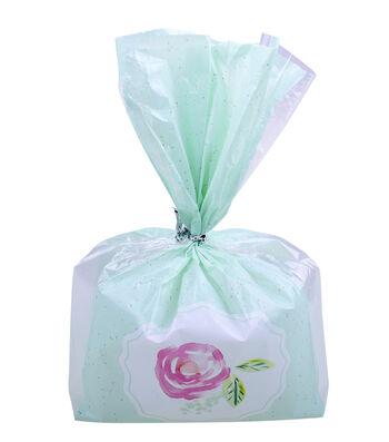 Easter Cellophane Printed Treat Bags with Ties-Rose on Turquoise
