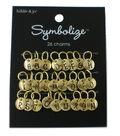 hildie & jo Symbolize 26 Pack Round Gold Charms-Black Alphabet