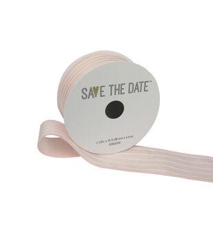 """Save the Date 1.5"""" x 15ft Ribbon-Blush White Stripe"""