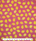 Doodles Juvenile Apparel Fabric -Lemon Pucker on Pink
