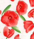 Snuggle Flannel Fabric 42\u0022-Red Tulips