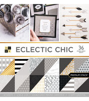 DCWV Pack of 36 12''x12'' Premium Printed Cardstock Stack-Eclectic Chic, , hi-res