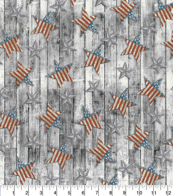Patriotic Cotton Fabric-Glavanized Stars on Wood Plank