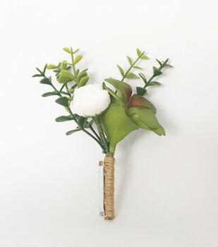 Greenery & White Flower Boutineer