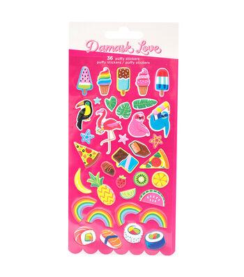 Damask Love Puffy Stickers-Wild Card