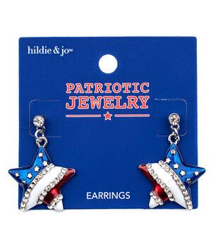 hildie & jo Patriotic Jewelry Star Dangle Earrings