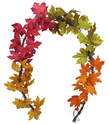 Blooming Autumn 66'' Maple Leaves Garland-Color Blocked