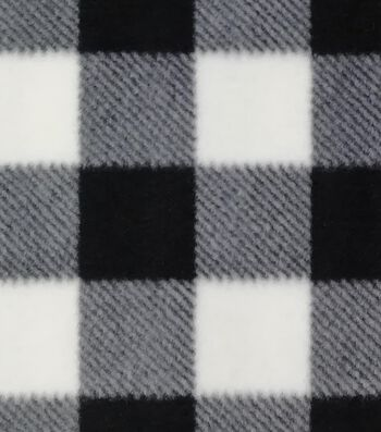 Anti-Pill Plush Fleece Fabric-Black & White Buffalo Checks