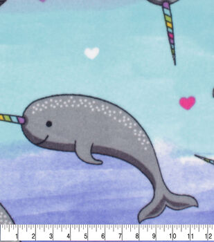 Valentine's Day Anti-Pill Plush Fleece Fabric-Happy Narwhal